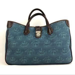 Dooney & Bourke Signature Blue & Brown Tote Bag